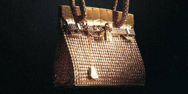 金色爱马仕镶钻手提包